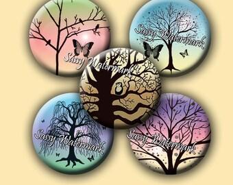 "Trees Birds Butterflies Owls 2"" Circles Cabochon Collage Sheet"