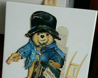 Paddington Bear decoupage picture tile 1970's Vintage.
