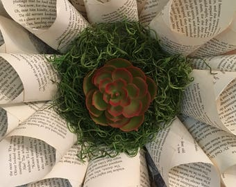 Succulent Book Page Wreath