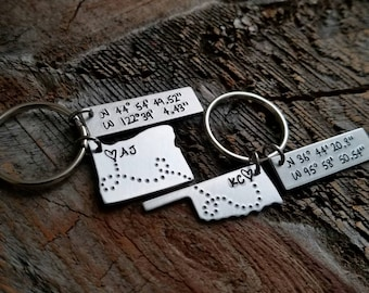 Coordinates Keychain Long Distance Relationship Gift Long Distance Boyfriend Gift State Keychain Girlfriend Gift Father Son Gift Missionary