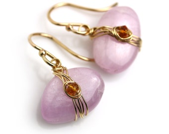 Kunzite Pebble Earrings. Long or Short Earwire. Gold Fill Kunzite Earring.