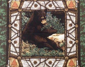 Bear Alaska panel, Wildlife Fabric Bear Panel