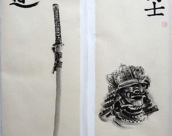 Bushido art. Original samurai painting. Set of 2 brush painting. Bushi and Way calligraphy. Zen art. Sumi-e.