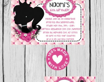 digital barbie silhouette invitation, tag, water label, ziploc card and thank you card  party  print as many as u need personalized jpg file
