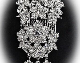 Large Gatsby style vintage flower rhinestone bridal hair side comb statement