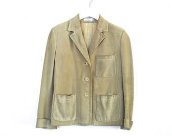 90's  PHILOSOPHY By Alberta Ferretti Leather Suede Creme Blazer  - size S/M