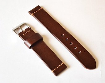 Brown tan vintage full-grain leather handmade watch strap watch band Vegetable tanned watch strap 18mm 20mm watch band 22mm 24mm watch strap