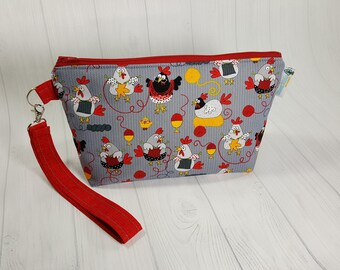 Small Knitting Project Bag, Knitting Chickens, Zippered Wedge Bag, Zipper Knitting Bag, Cosmetic Bag WS0078