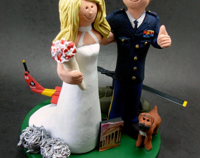 Helicopter Pilot's Wedding Cake Topper, Helicopter Pilot's Wedding Anniversary Gift/Cake Topper, Black Hawk Chopper Wedding Cake Topper,