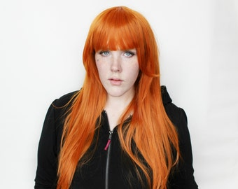 Long Ginger wig | Straight Ginger Red Orange wig | Cosplay wig, Scene wig | Heat styleable / Heat resistant wig | Hazel Fox