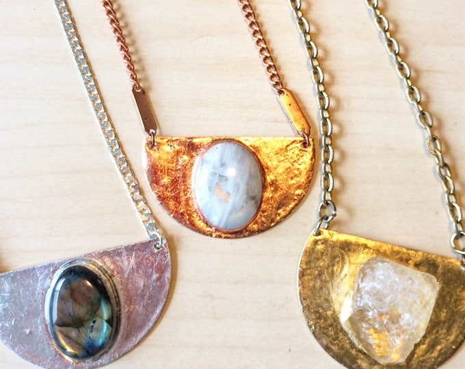 Labradorite, Rainbow Moonstone Medallion Necklaces