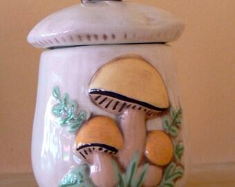 Vintage Ceramic Mushroom Sugar Bowl with Lid