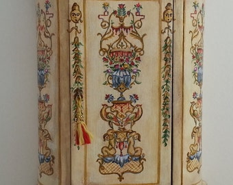 1/12 Dolls House Venetian Cabinet Hand Painted with Rococo Decorations