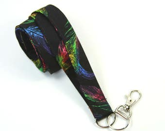 FEATHERS Fabric lanyard, Colorful feathers badge holder, Feathers lanyard, Black badge holder, Feathers badge holder