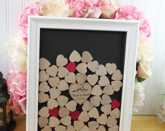 Wedding guestbook top  Drop box guest book heart frame wedding guest book - Drop hearts Box  shadow box and sign 285 hearts heart guestbook