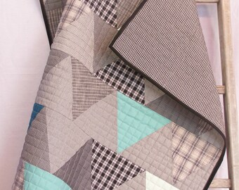 Baby Boy Quilt, Gray and Blue Baby Blanket, Modern Baby Quilt, Triangles Throw, Baby Quilts for Sale