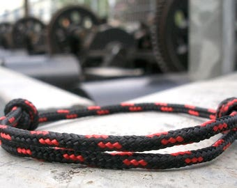 Surfer bracelet, black red 3 mm, sailors bracelet, maritime nautical Ocean Ocean Beach, climbing rope knots bracelet, surfing sailing climbing