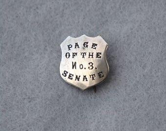 Page of the No. 3 Senate Pin Edwardian Era Vintage