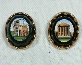 Tiny Micro Mosaic Roman Ruins Earrings, Italian Grand Tour Souvenir Jewelry, Antique