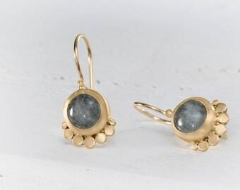22k Aquamarine Earring, Dangle Earrings, Gemstone Dangle Earrings, solid Gold Earrings, Wedding Earrings,Romantic Earrings, Bridal Earrings