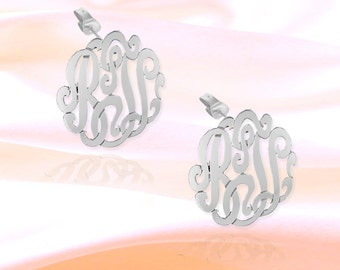 Monogram Earrings - .75 inch Sterling Silver Handcrafted - Personalized Initial Earrings - Made in USA