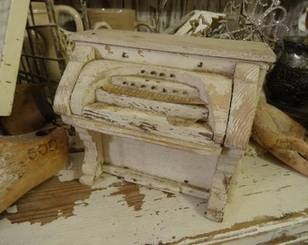Vintage Shabby Cottage Chic White Wood Piano OOAK