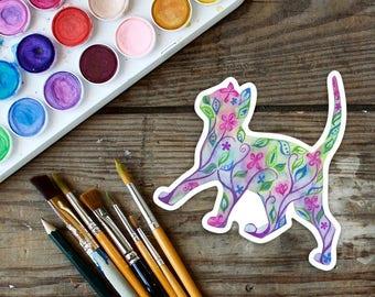 Vinyl Cat Sticker, waterproof sticker, cat, kitten, small gift, weatherproof