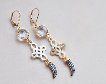 Horn Earrings, Quartz Crystal Earrings, Cross Earrings, Boho Earrings, Long Earrings, White and Gold Earrings, Statement Earrings, Boho