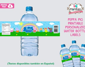 Printable Peppa Pig Water Bottle Label, Peppa Pig Party, Peppa Pig Birthday, Peppa Pig Decoration, Peppa Pig Favors, Peppa Pig