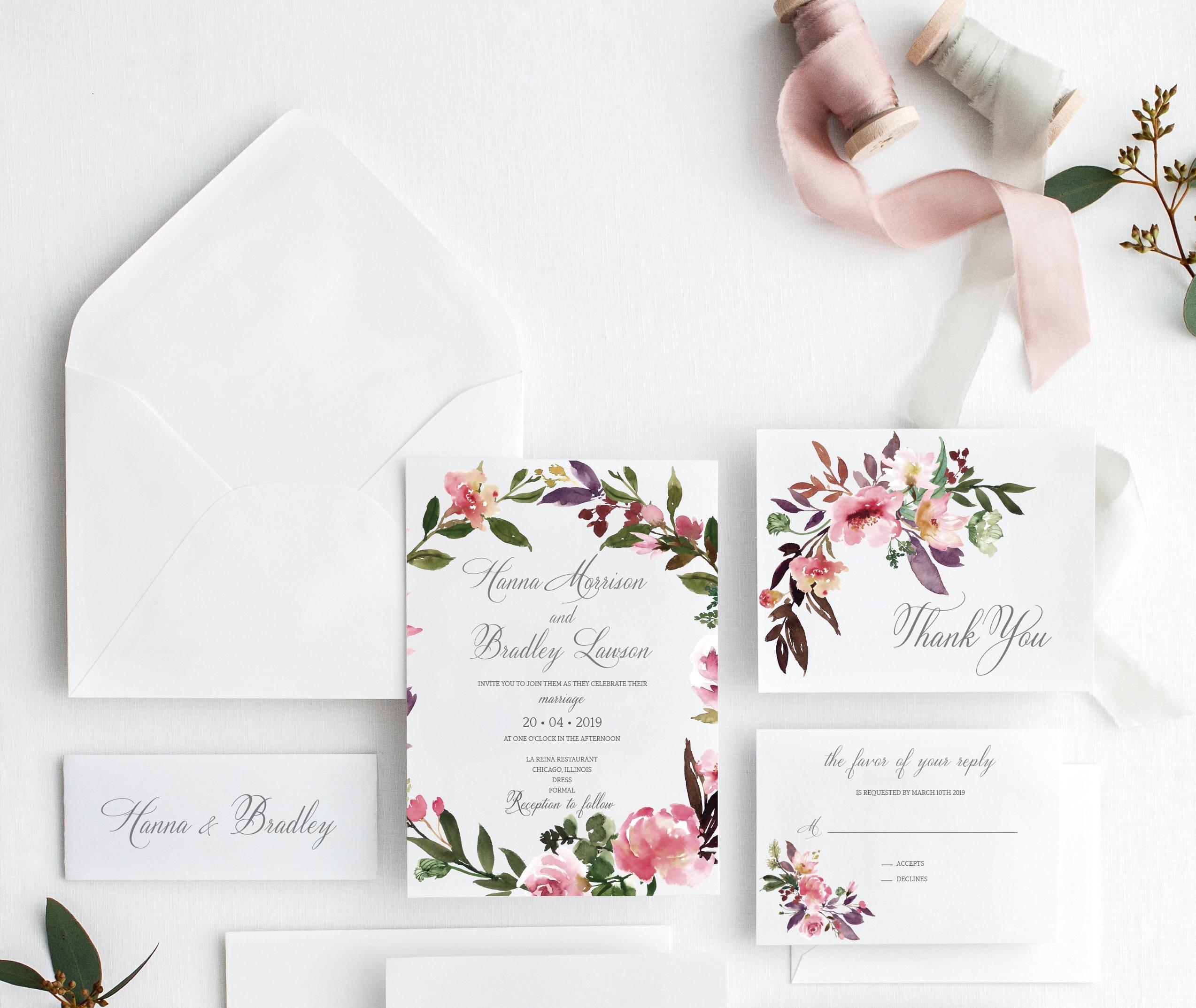 Druckbare Hochzeitseinladung Blumen Hochzeit Einladung