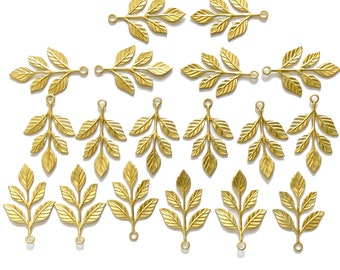 Five Petal Leaf Stampings, 18 Piece, Leaves, Leaf Stamping, Raw Brass, Unplated Brass, Vintage Supplies, US Made, B'sue, 36x24mm, Item06883