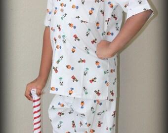 Dog Print Fun Pajama / Button down / Hospital Gown / Girls Pajama / Boys Pajama
