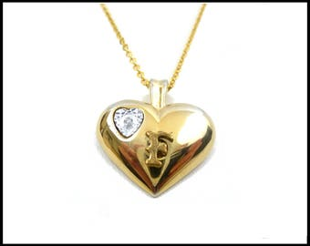 Genuine Diamond Heart Necklace, Initial F, Heart Pendant, Monogram F, Long Gold Chain, Large Bale, Puffed Gold Heart, Gift For Her
