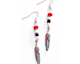 Red Tribal Feather Earrings