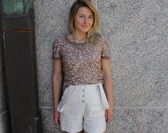 VINTAGE Rose gold sequin shirt