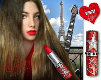 Bright Red Lipstick by Lex Gable Cosmetix High Pigment Shade: 'Guitar'