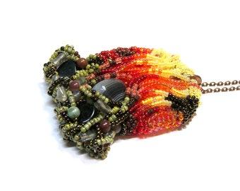 Talisman Protection Pendant, Fire Pendant, Goddess Pendant, Seed Bead Onyx Gemstone Pendant