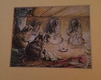 Vintage Beatrix Potter | Pen and Watercolor | Illustration | Frameable
