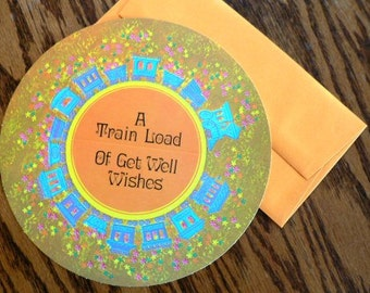 vintage cards ...  ROUND GET WELL Train Load of wishes Card with envelope ...