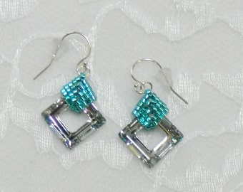 Woven Swarovski Beaded earrings,Beaded Swarovski earrings,Clip earrings,Handmade Swarovski jewelry - Swarovski Square earrings