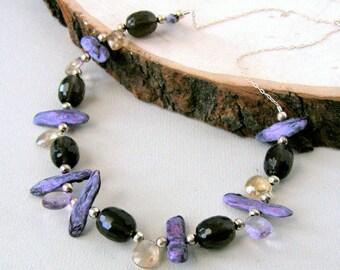 Purple Biwa Pearl Bib Necklace, Smokey Quartz and Ametrine Necklace, Sterling Silver, Beach Inspired, Destination Wedding, Gift for Her