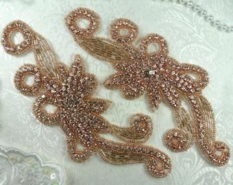 "Rose Gold Appliques Floral Crystal Rhinestone Gold Beaded Flower Mirror Pair 7.5"" (XR27X-rsglcr)"