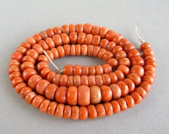 Antique Mediterranean Coral beads , Jewelry coral, Coral beads, Old Coral, Natural color coral. FREE SHIPPING!!!