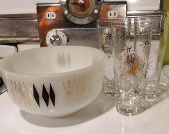 BARGAIN SALE: Federal Glass Bowl - Atomic Black & Gold Diamond