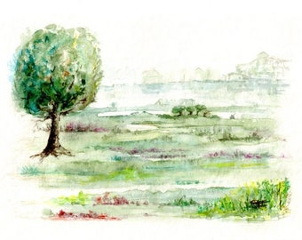 """Unique artwork signed, watercolor painting - """"Charming countryside""""."""