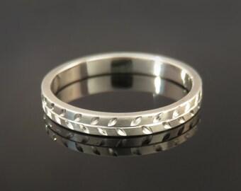 White gold band, Women's wedding ring, Pattern wedding ring, Personalized wedding band, Gold ring for women, Delicate gold ring