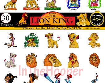 Disney LION KING EMBROIDERY Designs Pes, Hus, Jef, Dst, Exp, Jef+, Vip, Vp3, Xxx