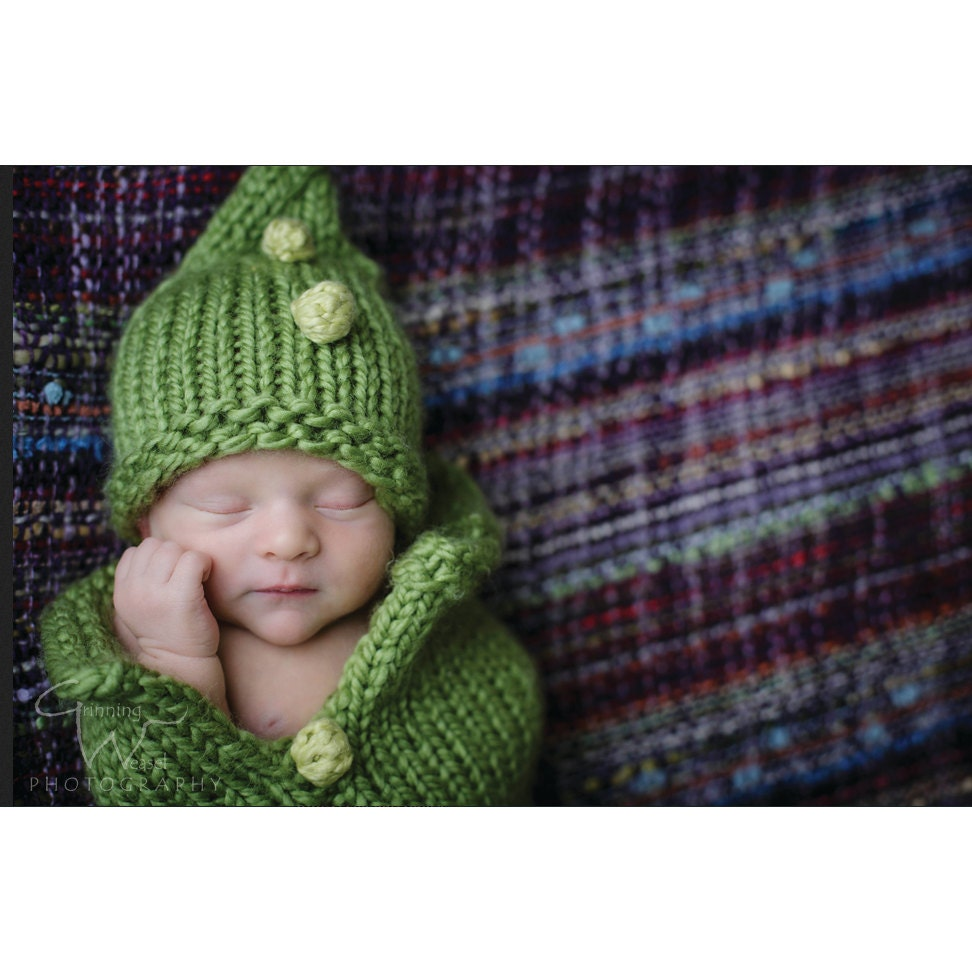 Baby Knit Pattern- Green Pea Pod Cocoon Bunting Costume - Crochet ...