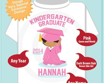 Kindergarten Graduate Shirt, Kindergarten Graduation Shirt, Personalized for your little girl with year and name 05142014d