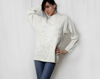 Vintage 90s Oversized Winter White Floral Embelished Sweater